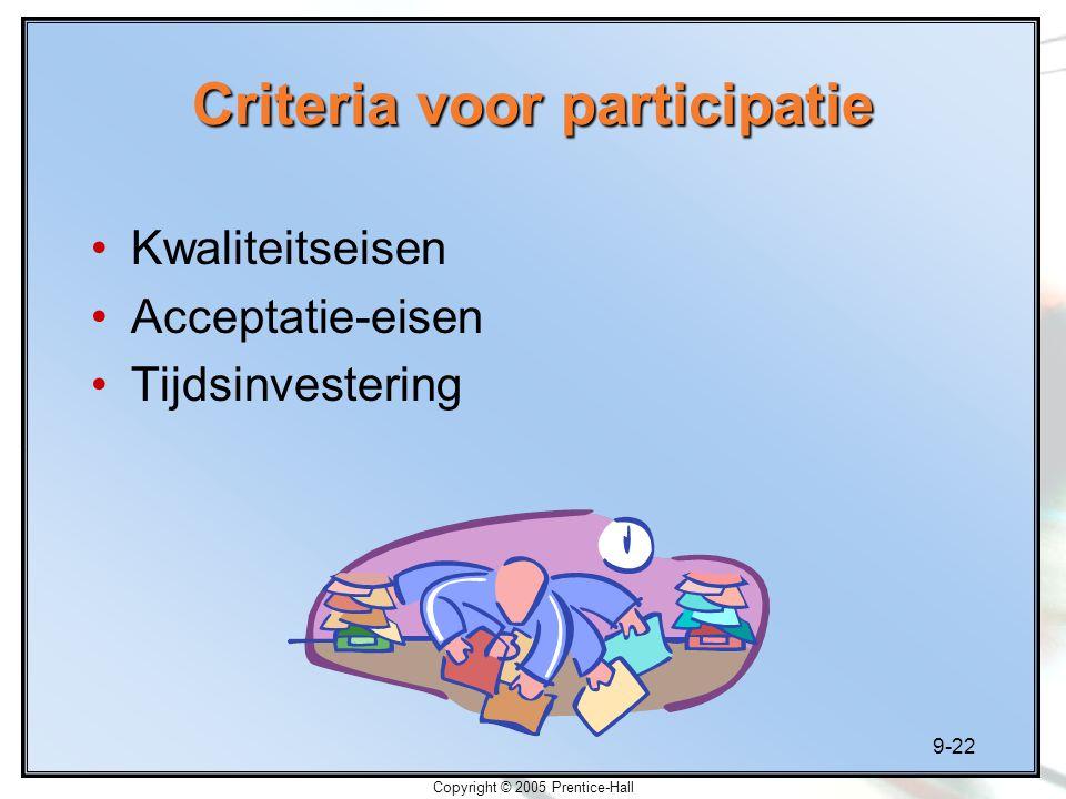 Criteria voor participatie