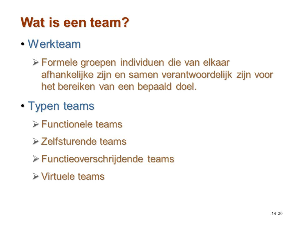 Wat is een team Werkteam Typen teams