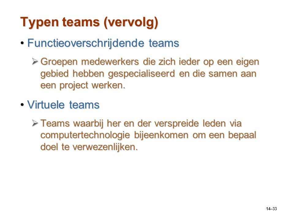 Typen teams (vervolg) Functieoverschrijdende teams Virtuele teams