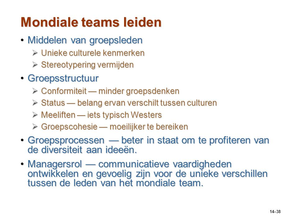 Mondiale teams leiden Middelen van groepsleden Groepsstructuur
