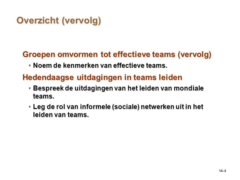 Overzicht (vervolg) Groepen omvormen tot effectieve teams (vervolg)