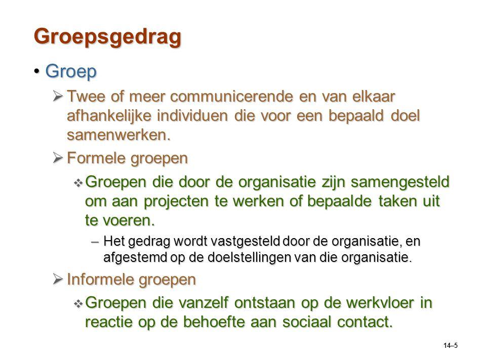Groepsgedrag Groep. Twee of meer communicerende en van elkaar afhankelijke individuen die voor een bepaald doel samenwerken.