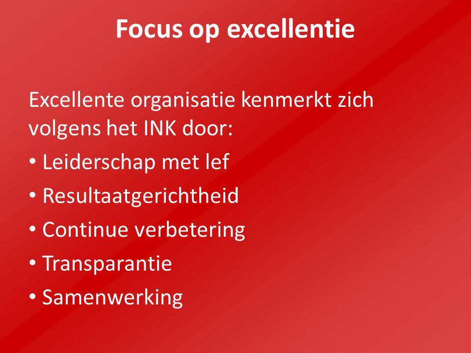Focus op excellentie Excellente organisatie kenmerkt zich volgens het INK door: Leiderschap met lef.