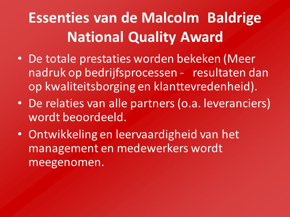 Essenties van de Malcolm Baldrige National Quality Award