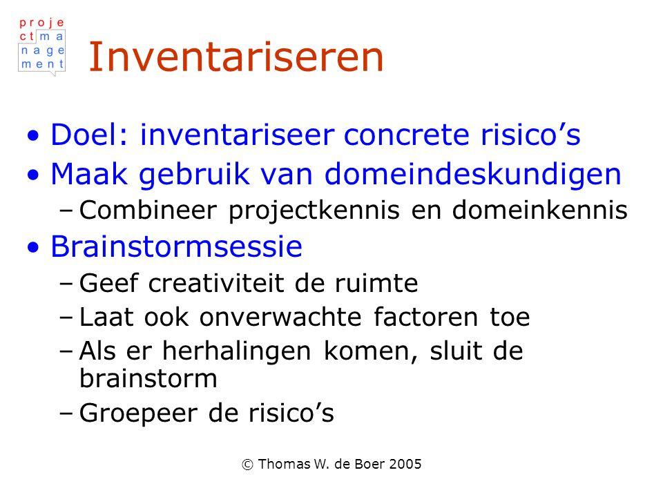 Inventariseren Doel: inventariseer concrete risico's