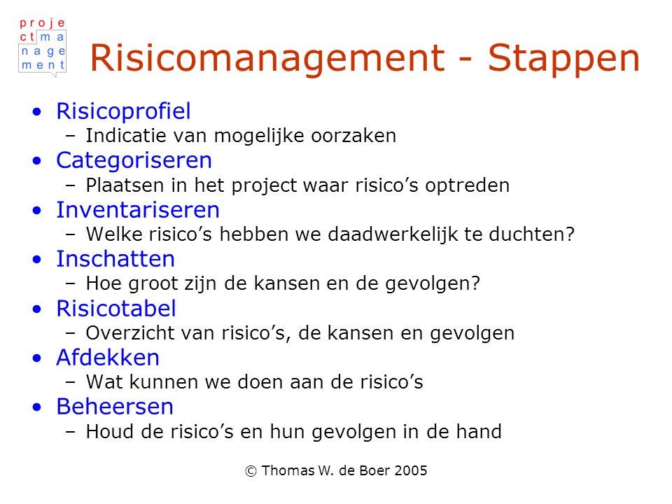 Risicomanagement - Stappen