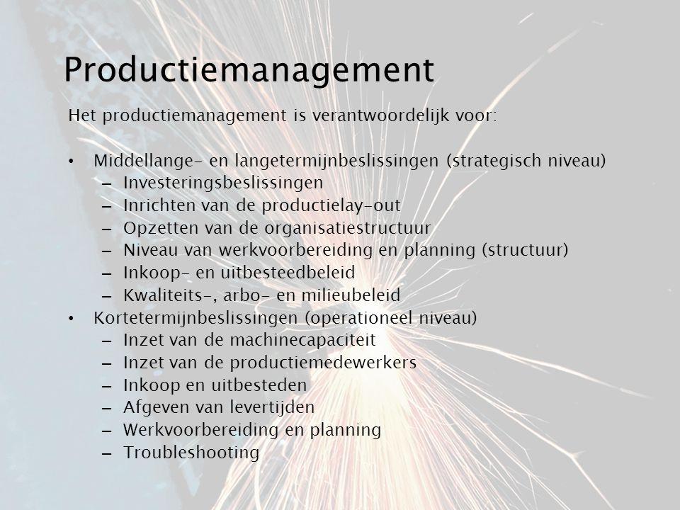Productiemanagement Het productiemanagement is verantwoordelijk voor: