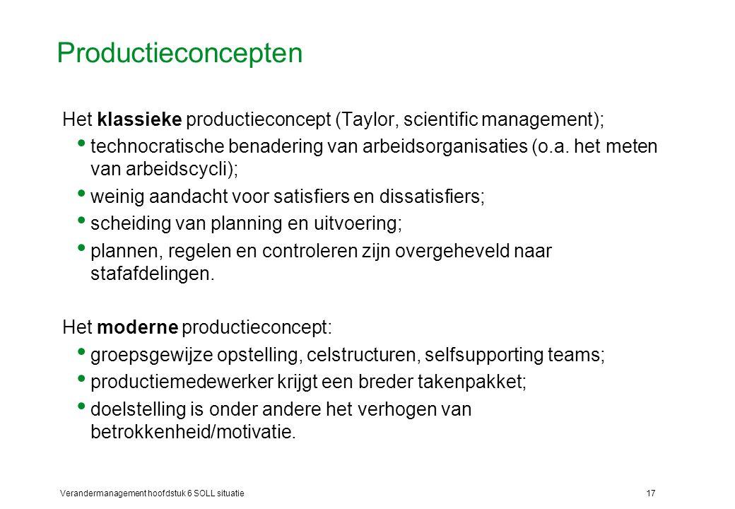 Productieconcepten Het klassieke productieconcept (Taylor, scientific management);