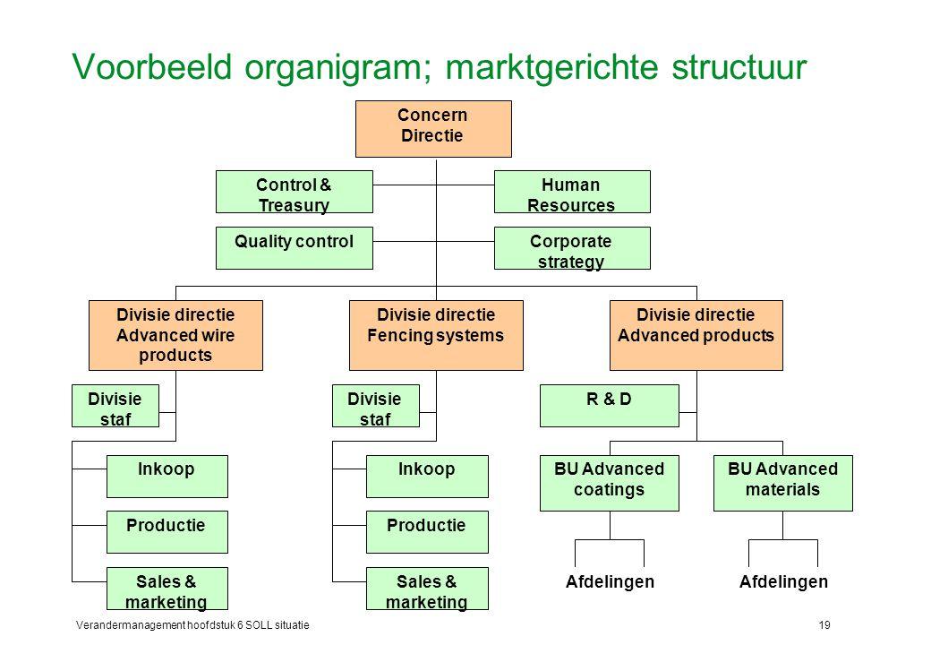 Voorbeeld organigram; marktgerichte structuur