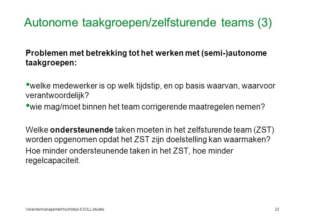 Autonome taakgroepen/zelfsturende teams (3)
