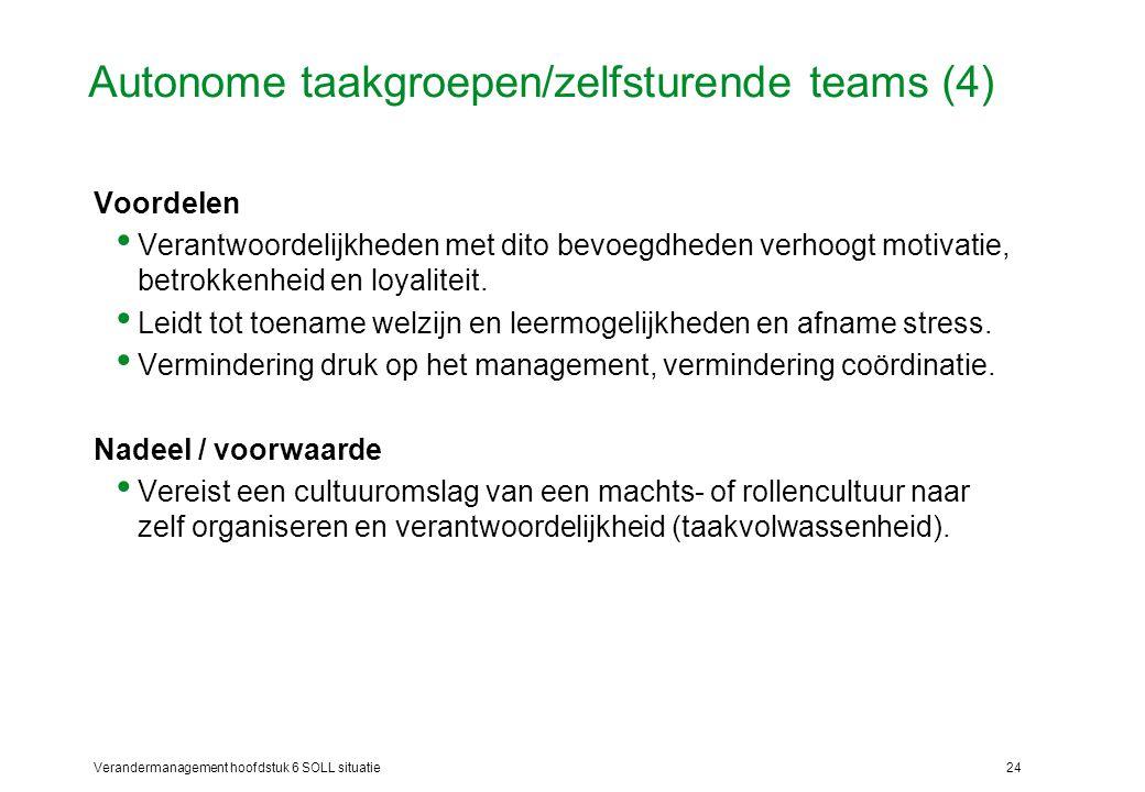 Autonome taakgroepen/zelfsturende teams (4)