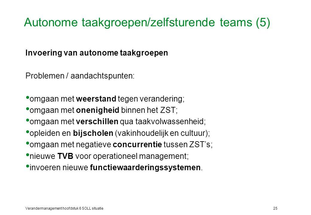 Autonome taakgroepen/zelfsturende teams (5)
