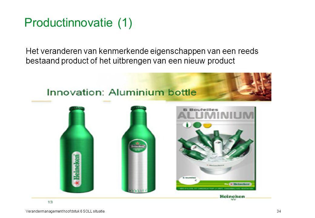 Productinnovatie (1) Het veranderen van kenmerkende eigenschappen van een reeds bestaand product of het uitbrengen van een nieuw product.