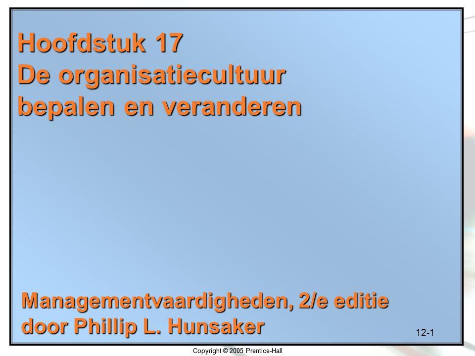 Hoofdstuk 17 De organisatiecultuur bepalen en veranderen