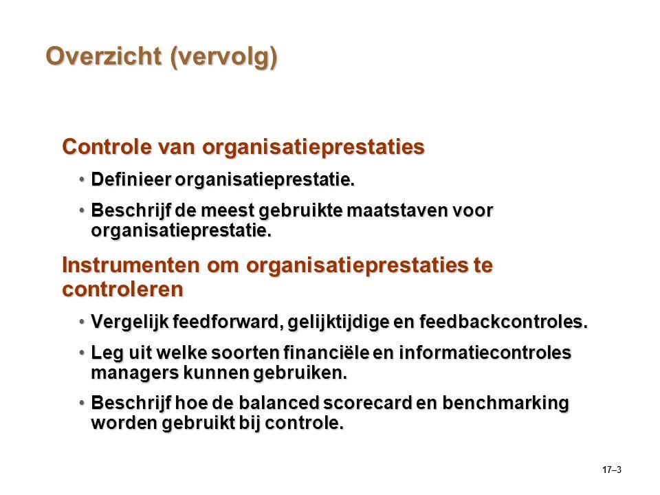 Overzicht (vervolg) Controle van organisatieprestaties