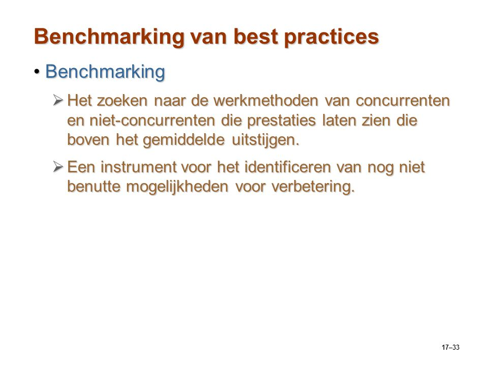 Benchmarking van best practices