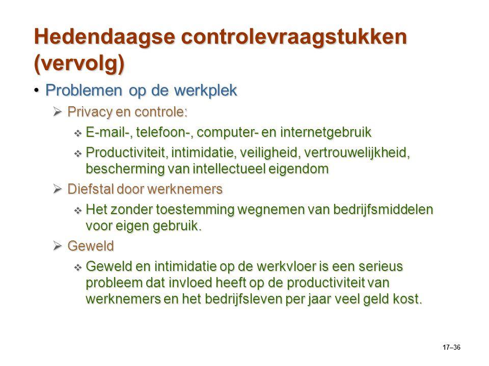 Hedendaagse controlevraagstukken (vervolg)