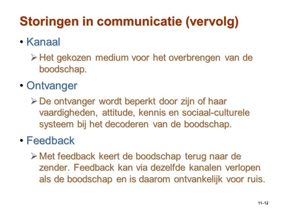 Storingen in communicatie (vervolg)