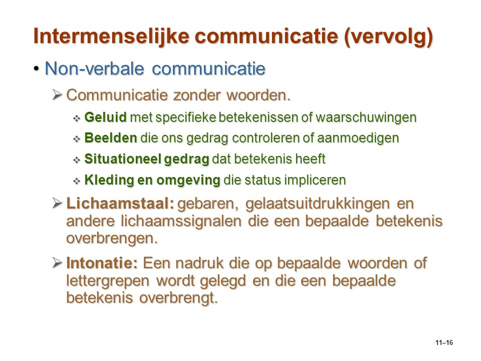 Intermenselijke communicatie (vervolg)