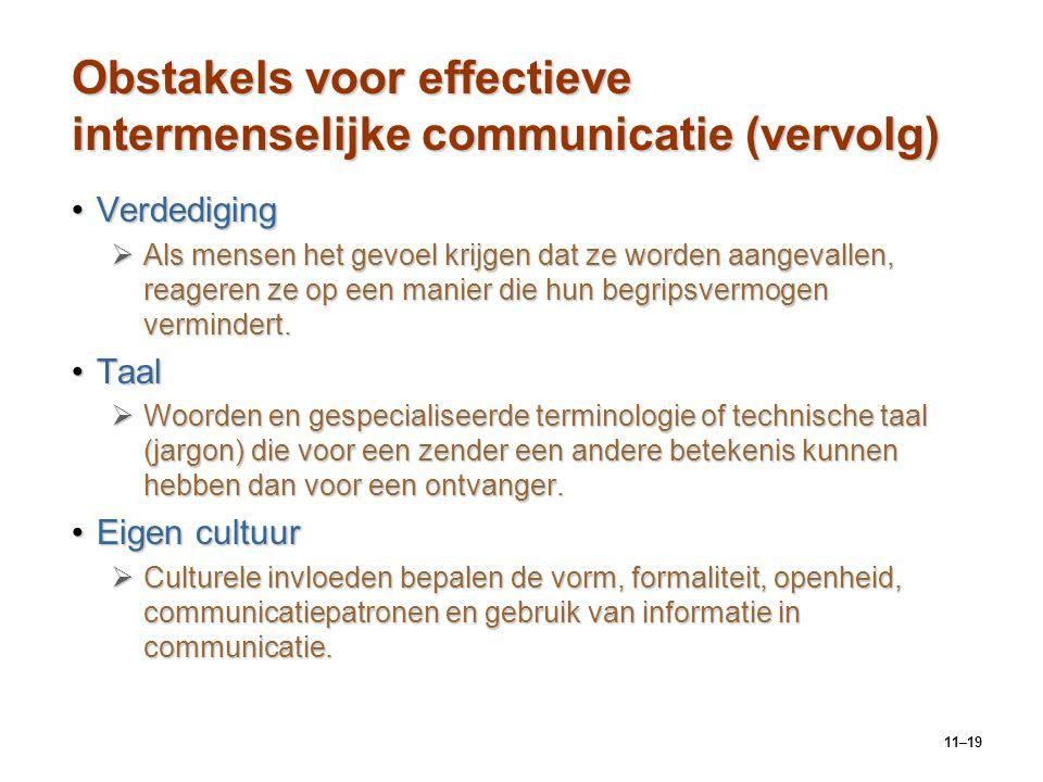 Obstakels voor effectieve intermenselijke communicatie (vervolg)