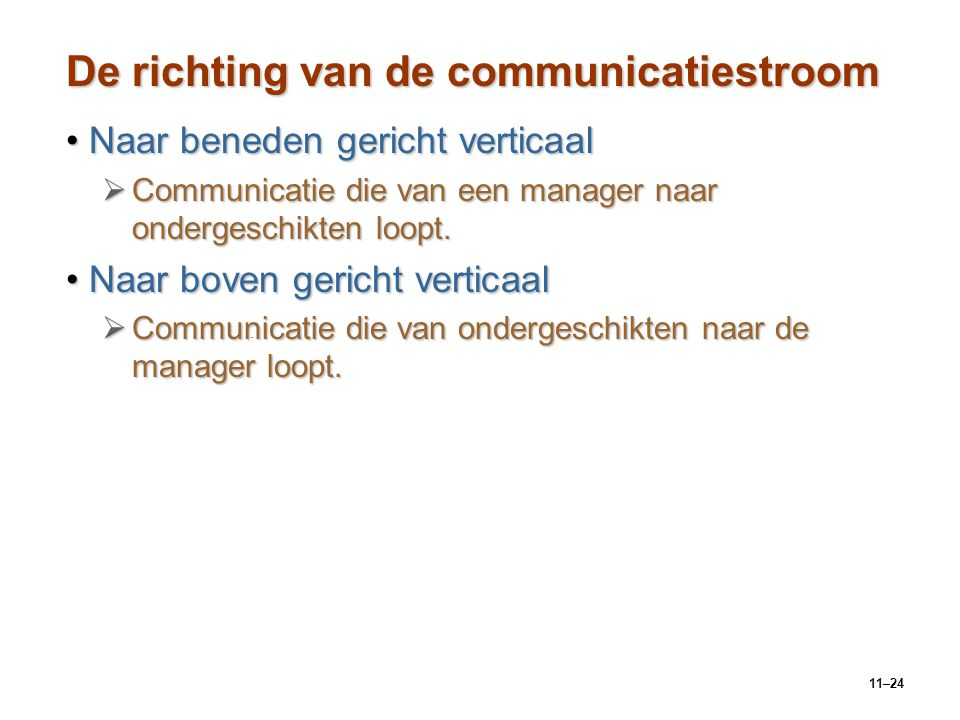 De richting van de communicatiestroom