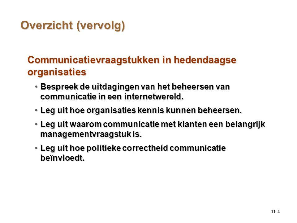 Overzicht (vervolg) Communicatievraagstukken in hedendaagse organisaties.