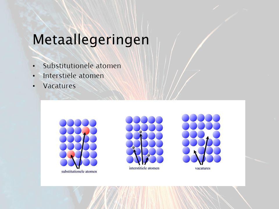 Metaallegeringen Substitutionele atomen Interstiële atomen Vacatures