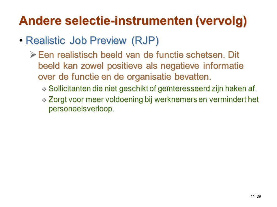 Andere selectie-instrumenten (vervolg)