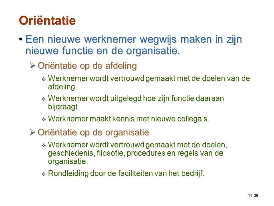 Oriëntatie Een nieuwe werknemer wegwijs maken in zijn nieuwe functie en de organisatie. Oriëntatie op de afdeling.