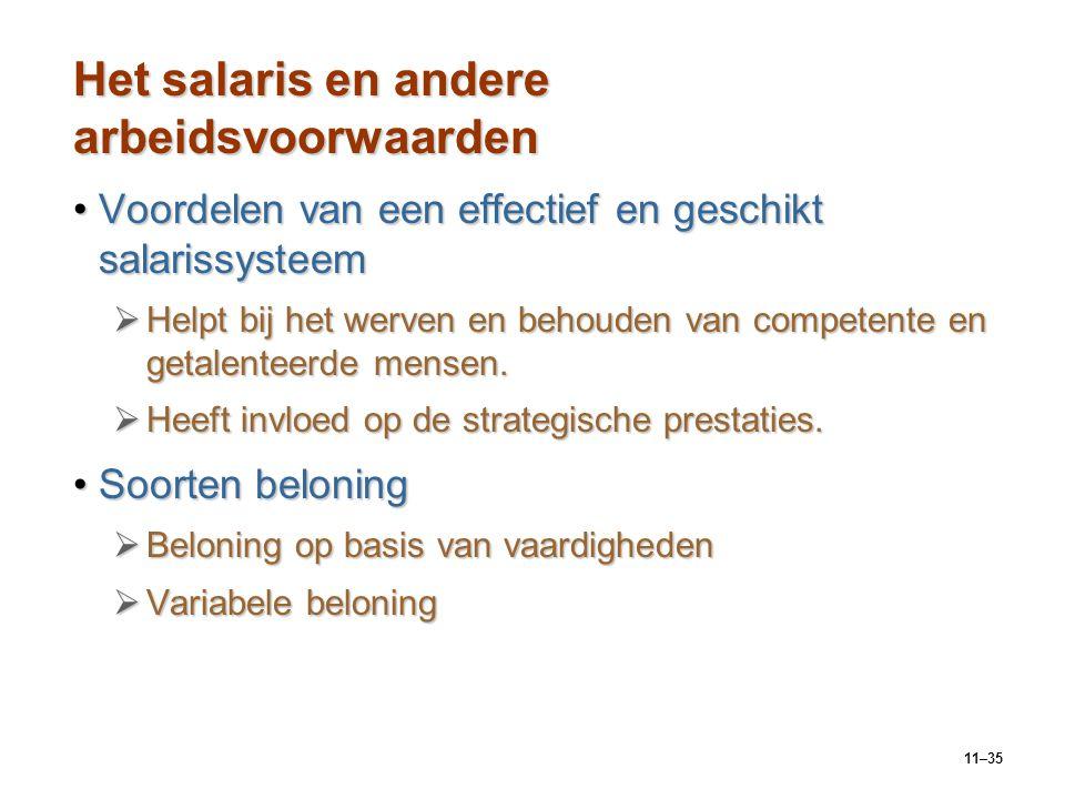 Het salaris en andere arbeidsvoorwaarden