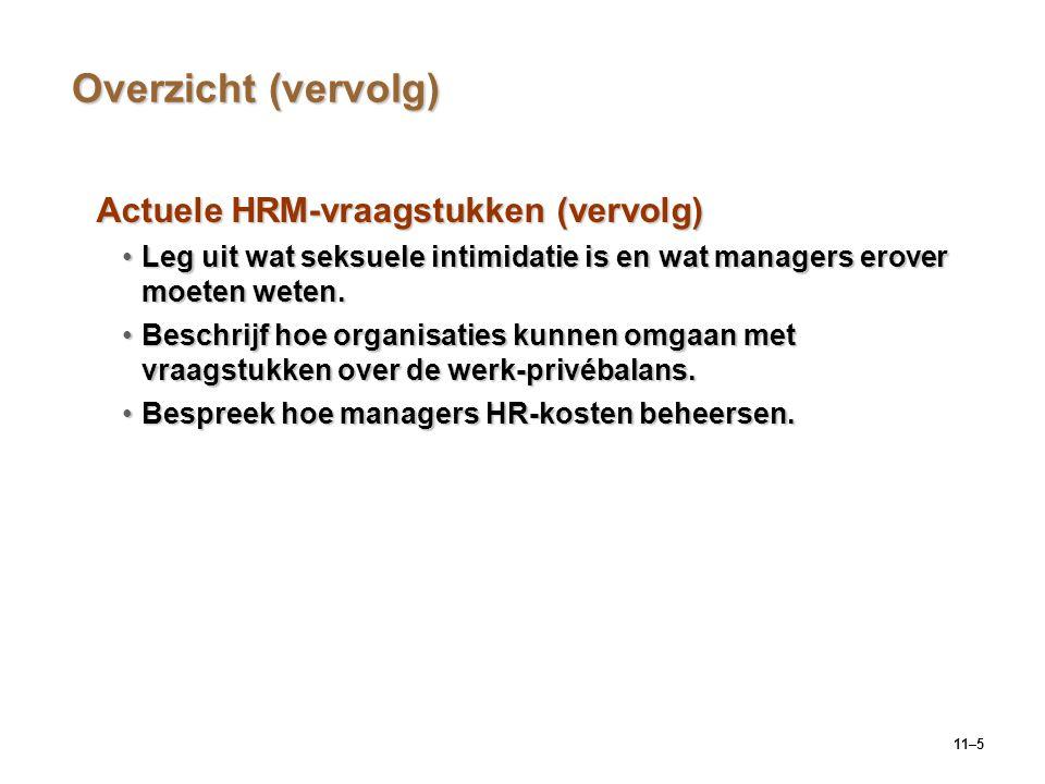 Overzicht (vervolg) Actuele HRM-vraagstukken (vervolg)