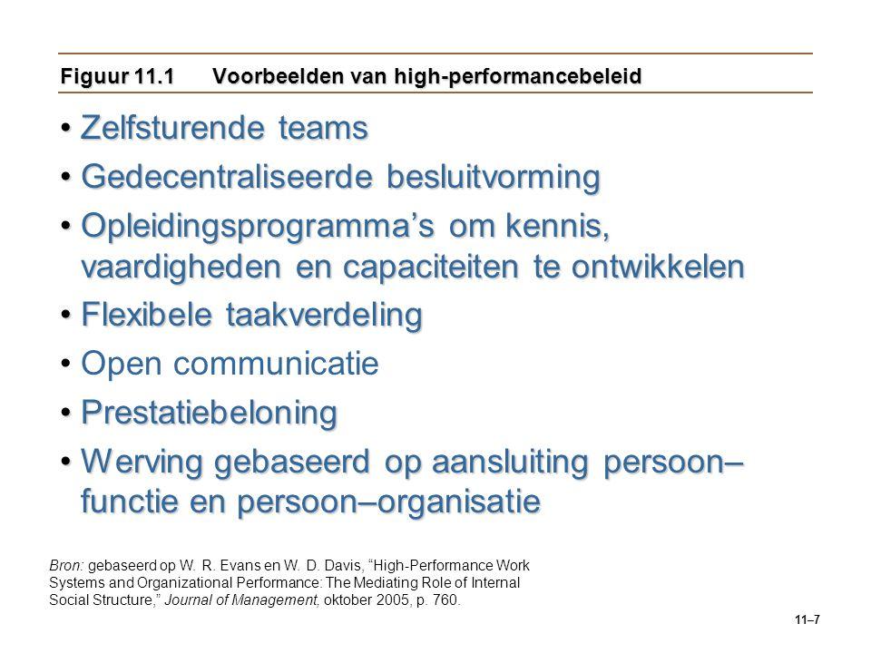 Figuur 11.1 Voorbeelden van high-performancebeleid