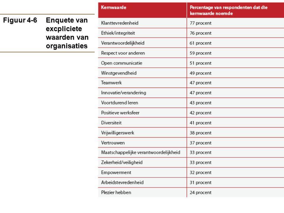 Figuur 4-6 Enquete van excpliciete waarden van organisaties