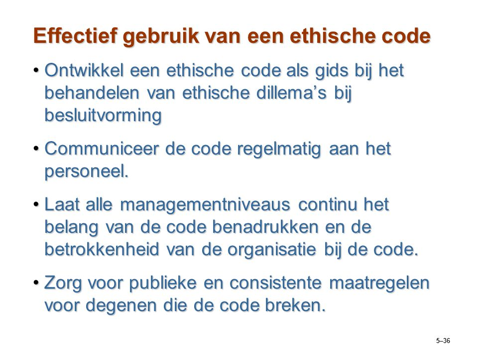 Effectief gebruik van een ethische code