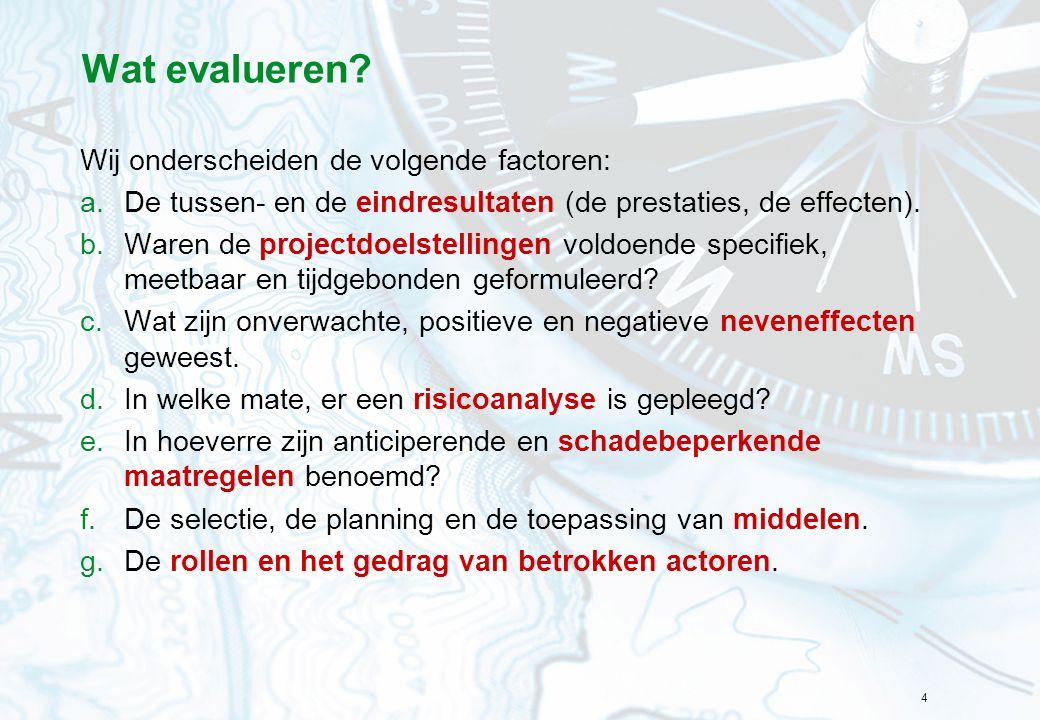 Wat evalueren Wij onderscheiden de volgende factoren: