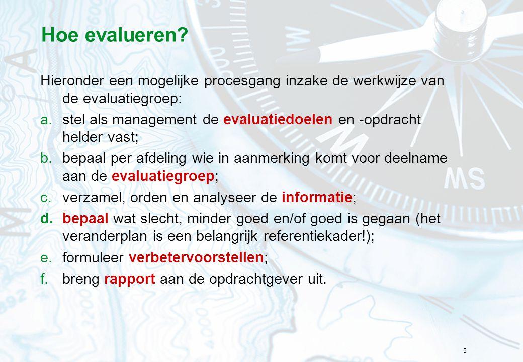 Hoe evalueren Hieronder een mogelijke procesgang inzake de werkwijze van de evaluatiegroep: