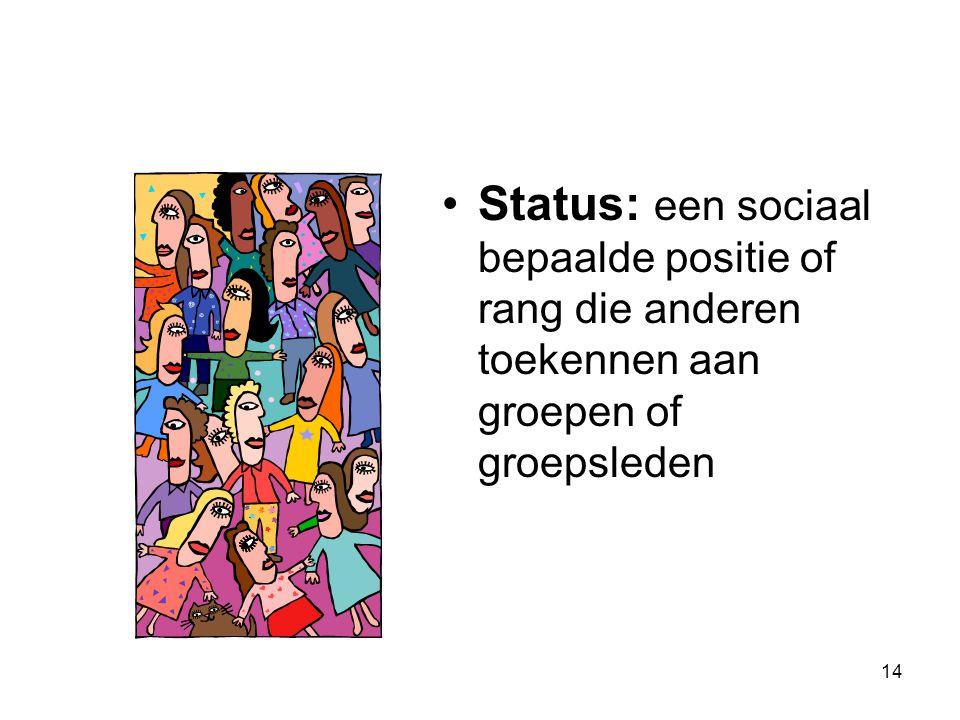 Status: een sociaal bepaalde positie of rang die anderen toekennen aan groepen of groepsleden