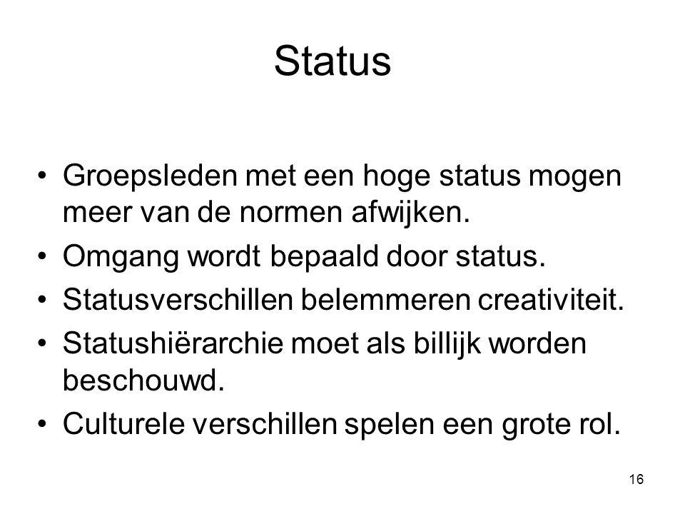 Status Groepsleden met een hoge status mogen meer van de normen afwijken. Omgang wordt bepaald door status.