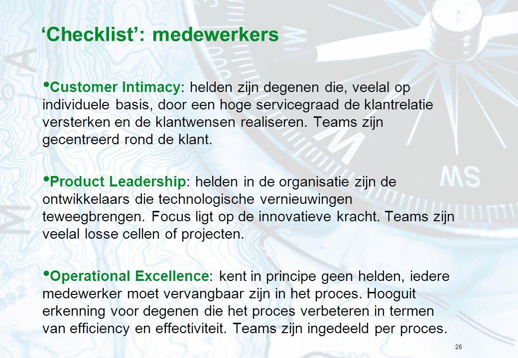'Checklist': medewerkers