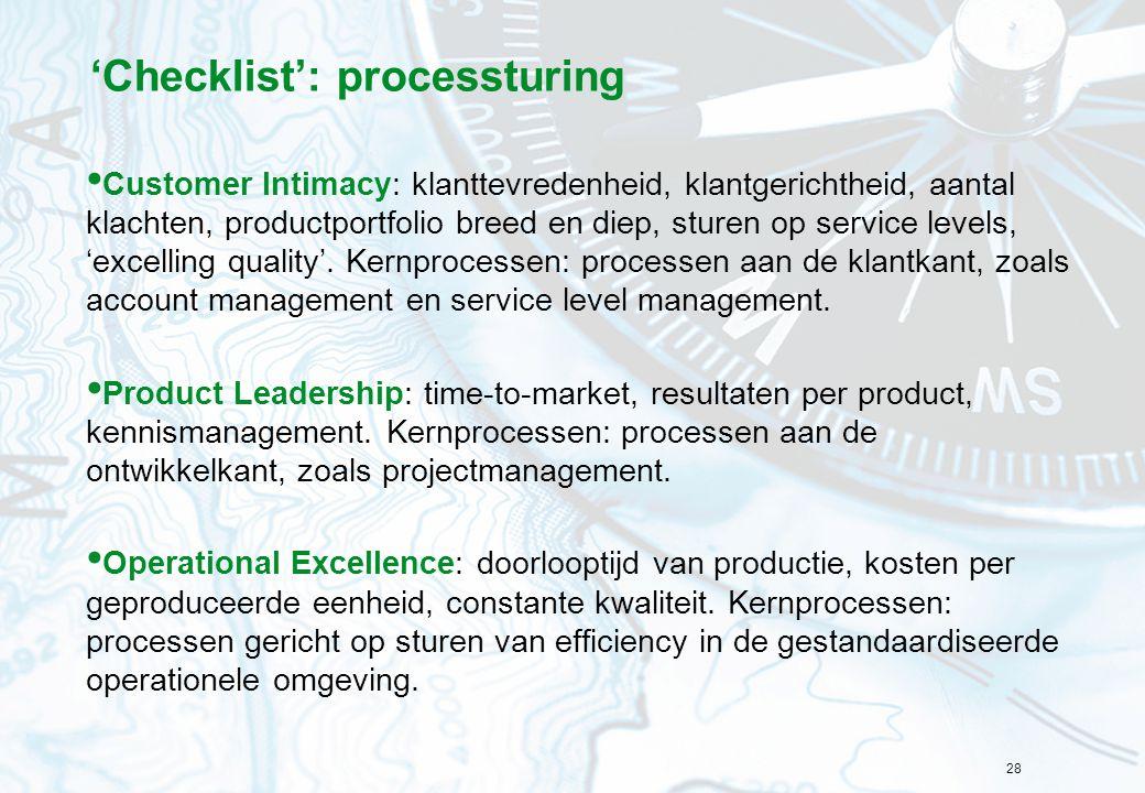 'Checklist': processturing