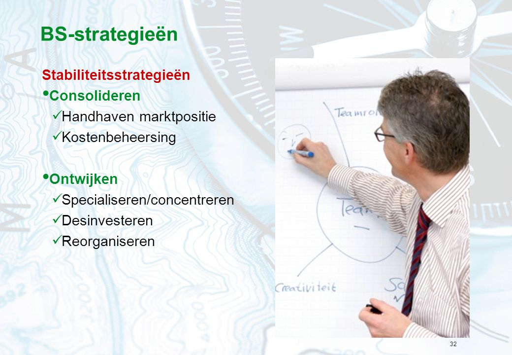 BS-strategieën Stabiliteitsstrategieën Consolideren
