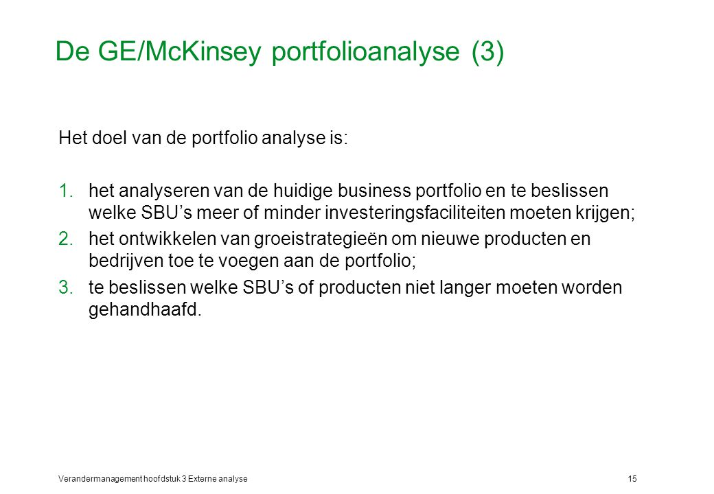 De GE/McKinsey portfolioanalyse (3)