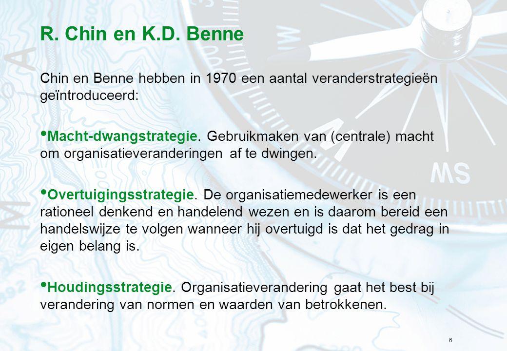 R. Chin en K.D. Benne Chin en Benne hebben in 1970 een aantal veranderstrategieën geïntroduceerd: