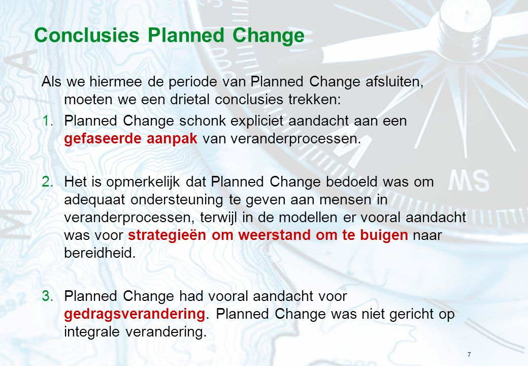 Conclusies Planned Change