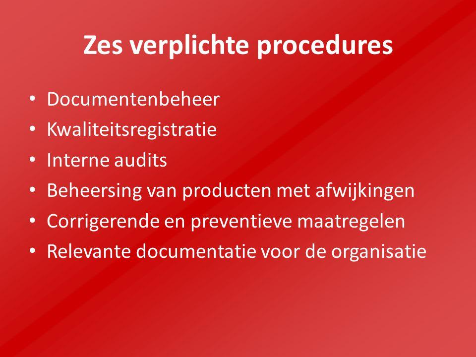 Zes verplichte procedures