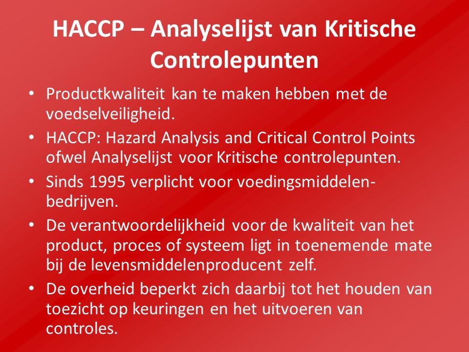 HACCP – Analyselijst van Kritische Controlepunten