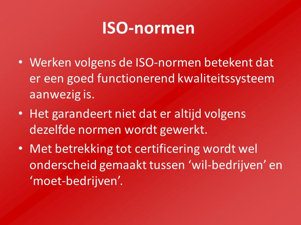 ISO-normen Werken volgens de ISO-normen betekent dat er een goed functionerend kwaliteitssysteem aanwezig is.