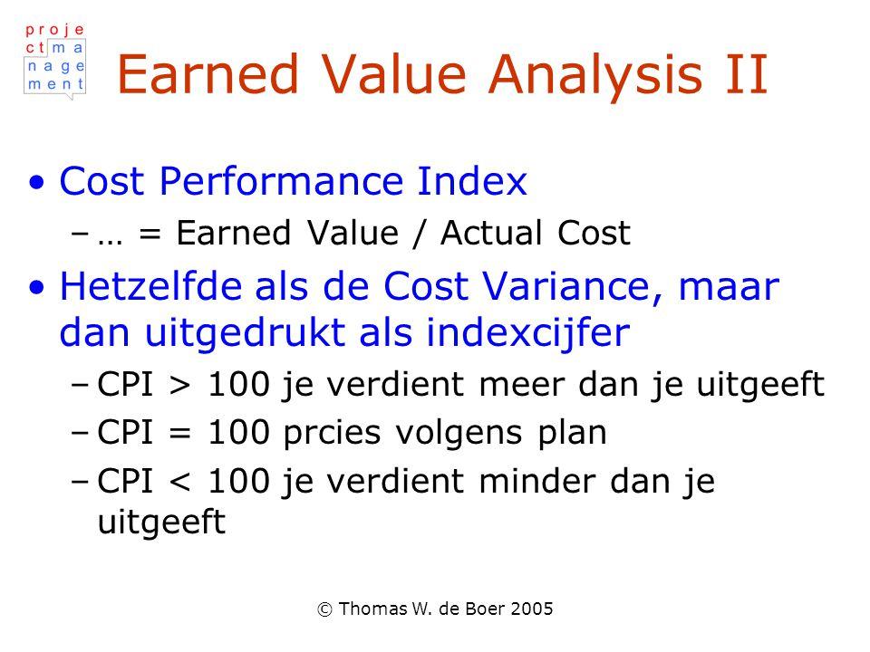 Earned Value Analysis II