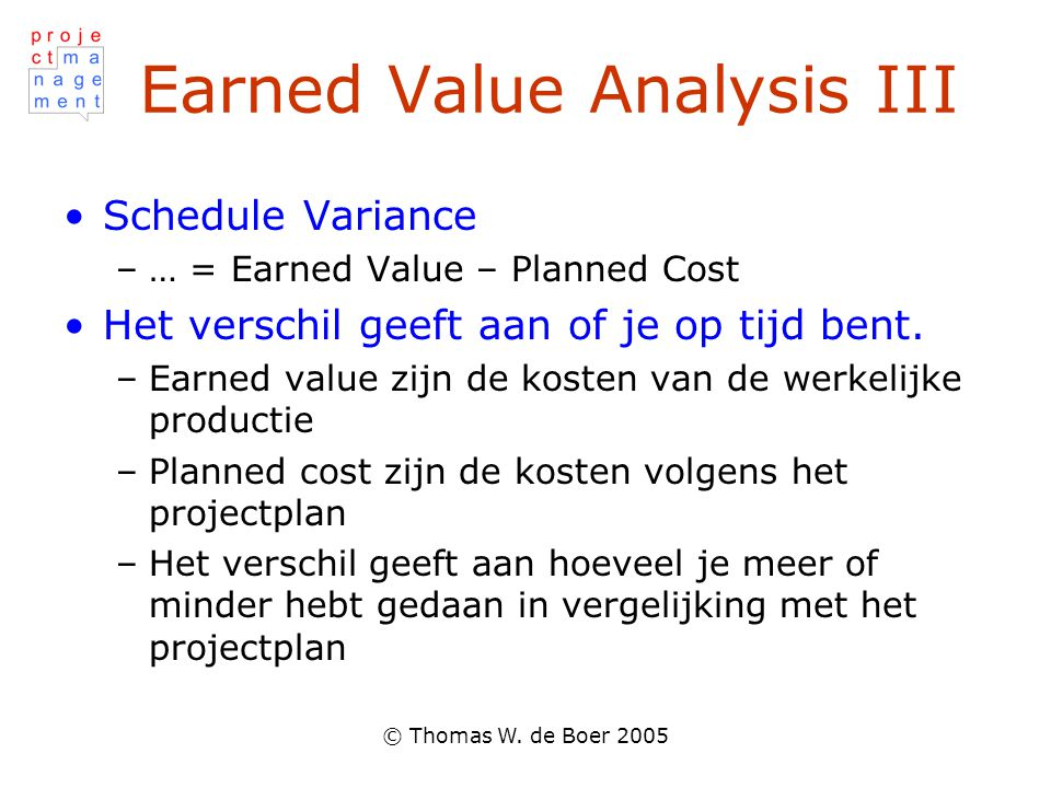 Earned Value Analysis III