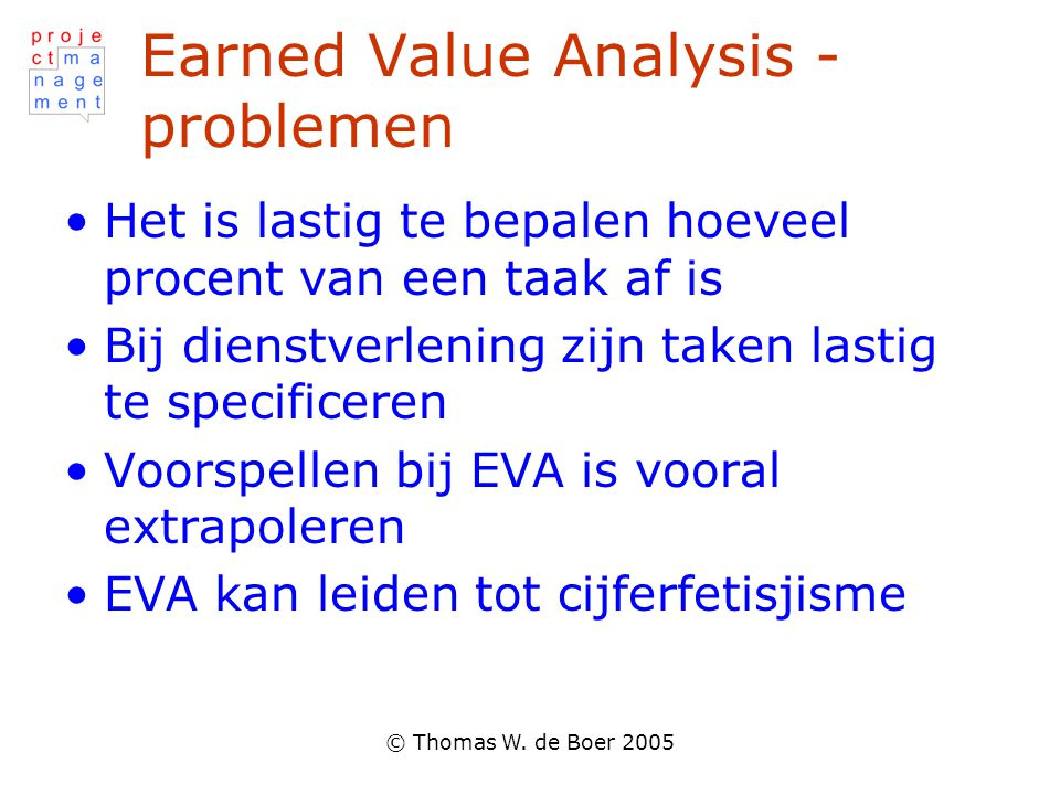 Earned Value Analysis - problemen